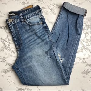 Express High-Waisted Distressed Girlfriend Jeans